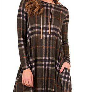 Plaid Print Scoop Neck Tunic Mini Dress
